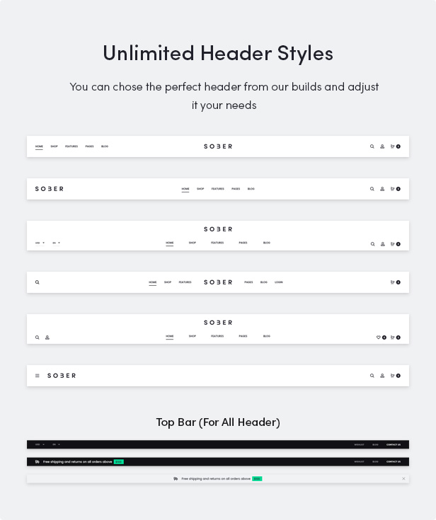 Sober WordPress theme with unlimited header styles