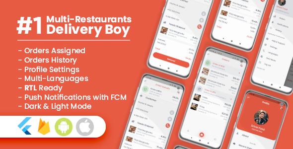 Photo of Get Delivery Boy For Multi-Restaurants Flutter App Download