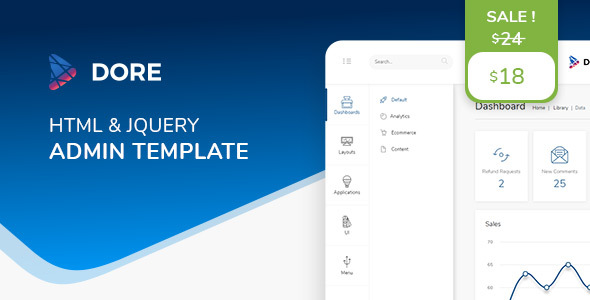 Photo of Get Dore jQuery – Bootstrap 4 Admin Template Download
