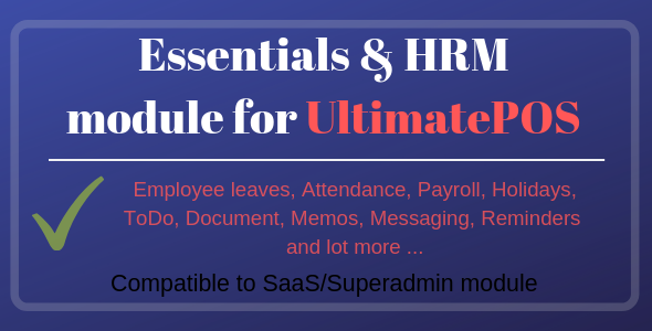 Photo of Get Essentials & HRM (Human resource management) Module for UltimatePOS Download
