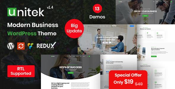 Photo of Get Unitek – Business WordPress Theme Download