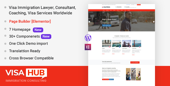 Photo of Get VisaHub – Immigration Consulting WordPress Theme Download