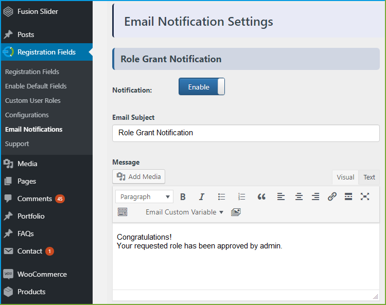 WooCommerce registration fields - Custom Emails