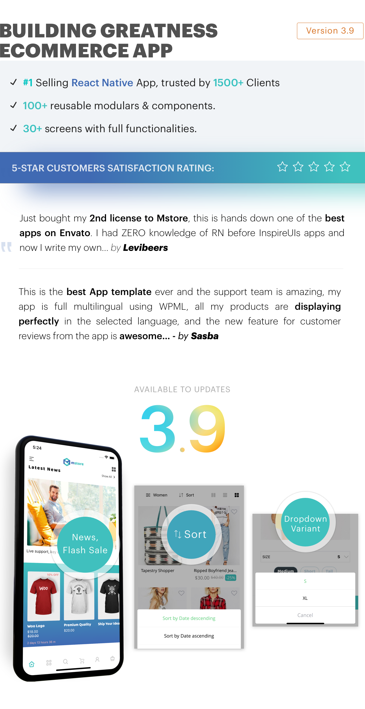 MStore Pro - Complete React Native template for e-commerce - 3