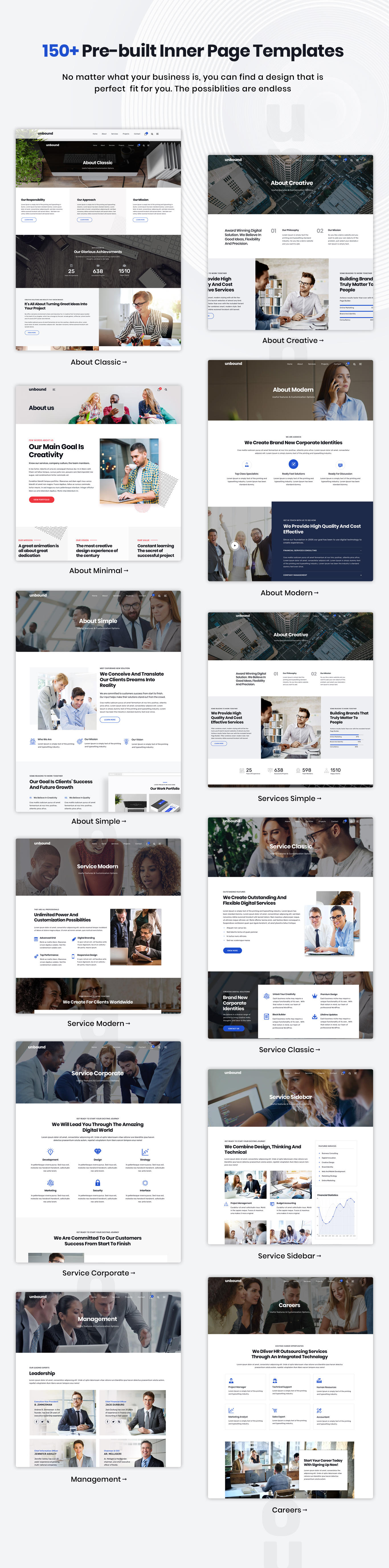 150+ Inner page templates