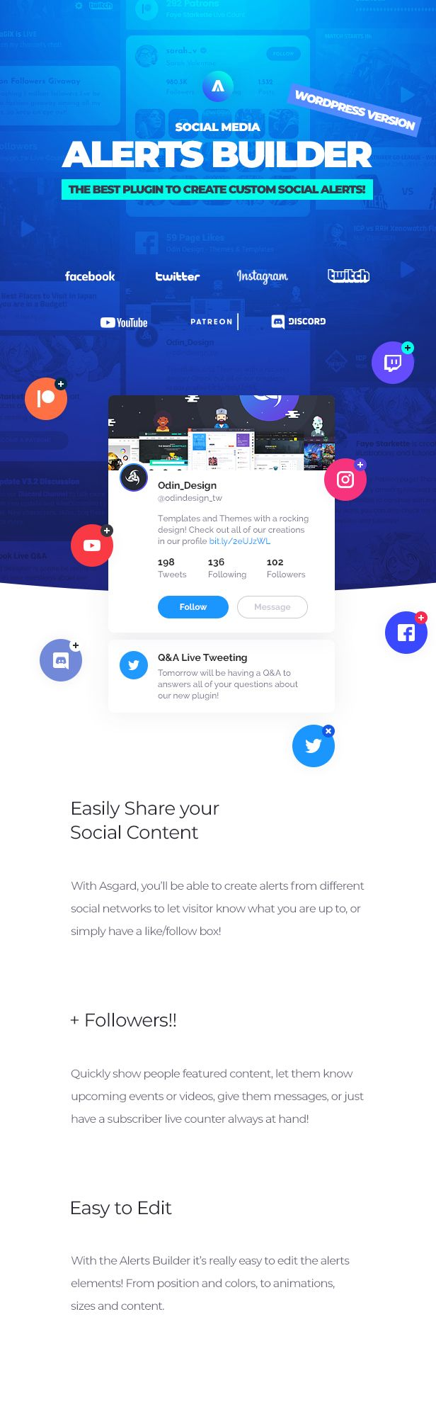Asgard - Social Media Alerts & Feeds WordPress Builder - Facebook, Instagram, Twitch and more! - 9