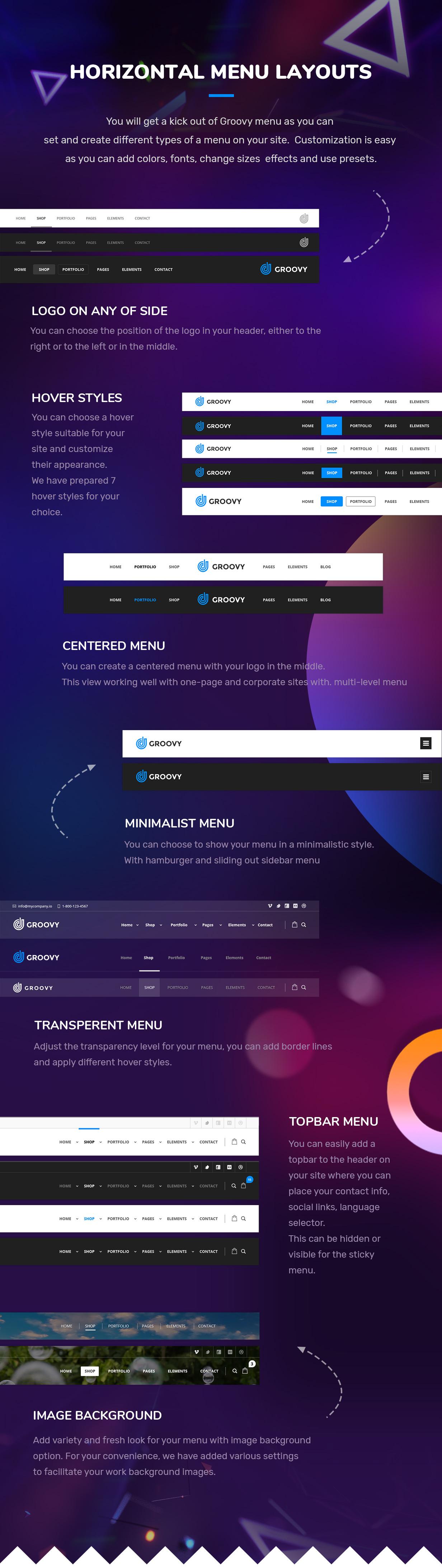 horizontal mega menu