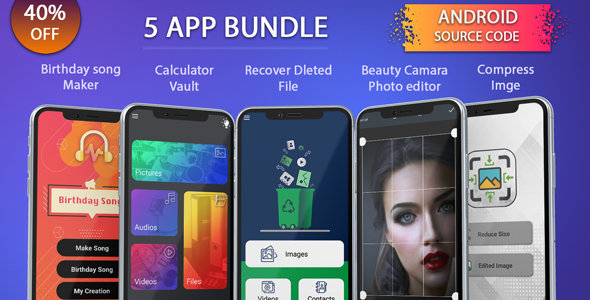 Photo of Get 5 app android source code bundle, pack, combo Download