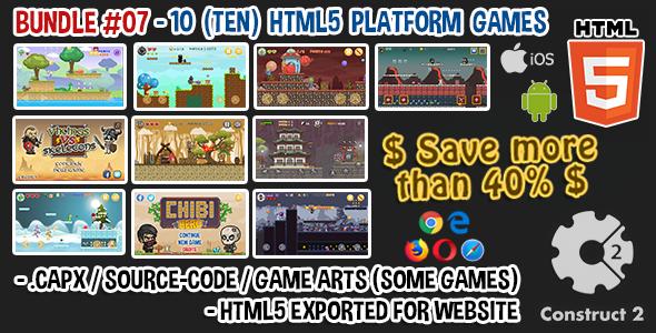 Photo of Get Game Bundle #07 – 10 (TEN) HTML5 Platform Games (Construct 2 .capx / Source-Code) Download