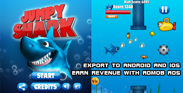 Photo of Get Jumpy Shark Source Code (Construct 2) Download