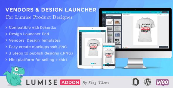 Photo of Get Vendors & Design Launcher Addon for LUMISE Product Designer Download