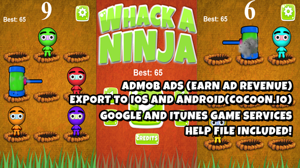 Photo of Get Whack A Ninja Warrior Source Code (Construct 2) Download