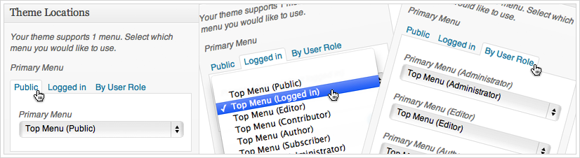 Menu by User Role - assign menus in Theme Locations