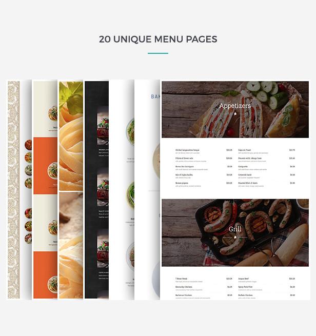 Restaurant WordPress Theme Menu