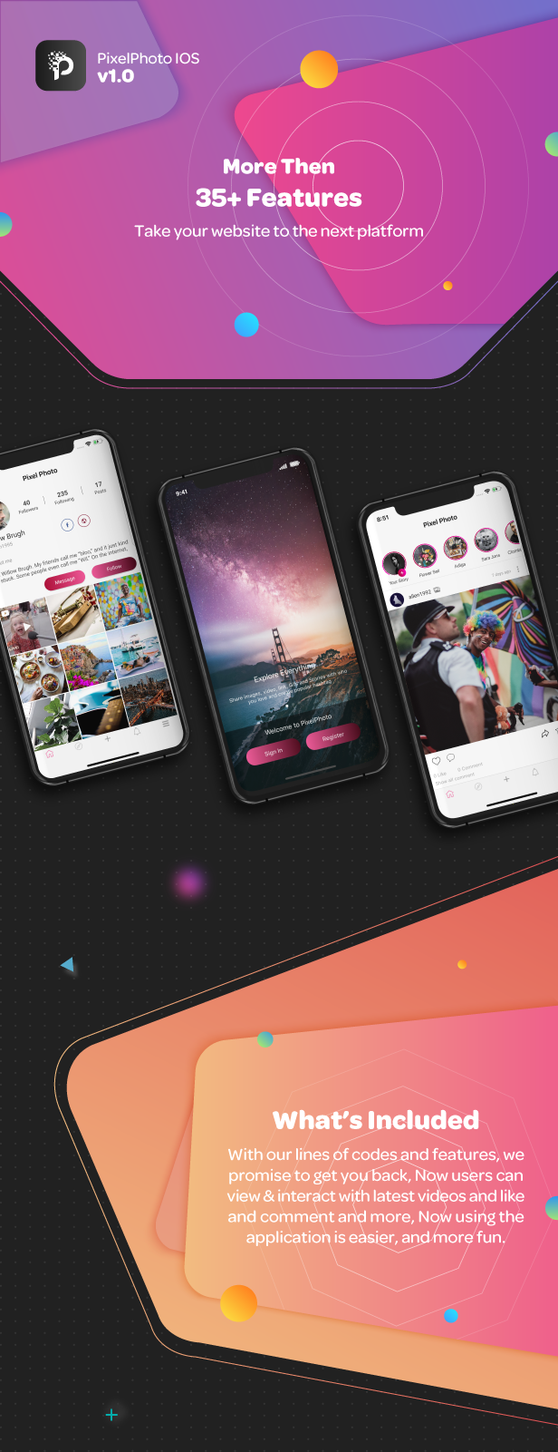 PixelPhoto IOS - Mobile Image Sharing & Photo Social Network - 3