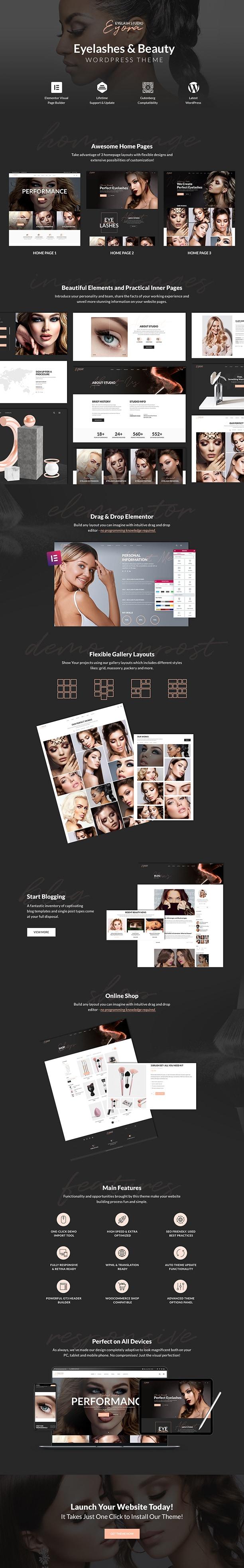 Eyora – Eyelash Extension & Lash Lift WordPress Theme - 1