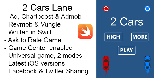 Photo of Get 2 Cars Lane Swift iOS Game Universal Source Code Download