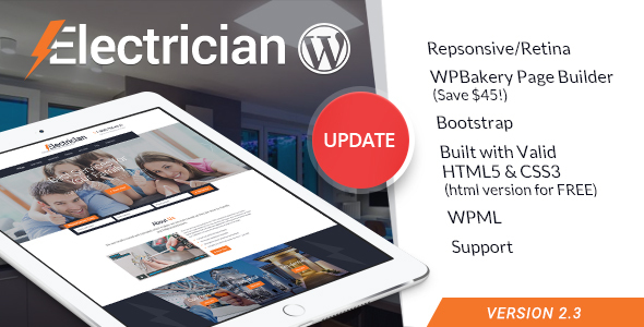 Photo of Get Electrician – Electricity Services WordPress Theme Download