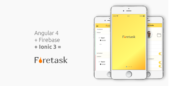 Firetask - The missing well coded Ionic 3 Firebase Full Application Template