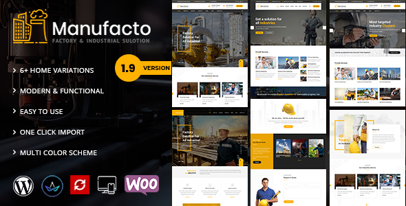 Photo of Get Manufacto – Factory WordPress Theme Download