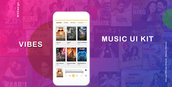 Music app ui template with android code