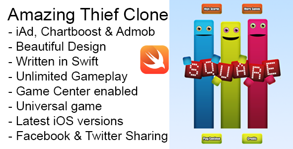 Photo of Get Square Thief iOS Game Universal Swift Source Code Download
