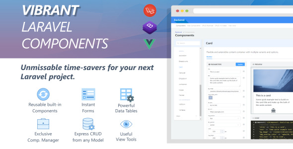 Photo of Get Vibrant Laravel Component Manager with Code Builder & Express CRUD Download