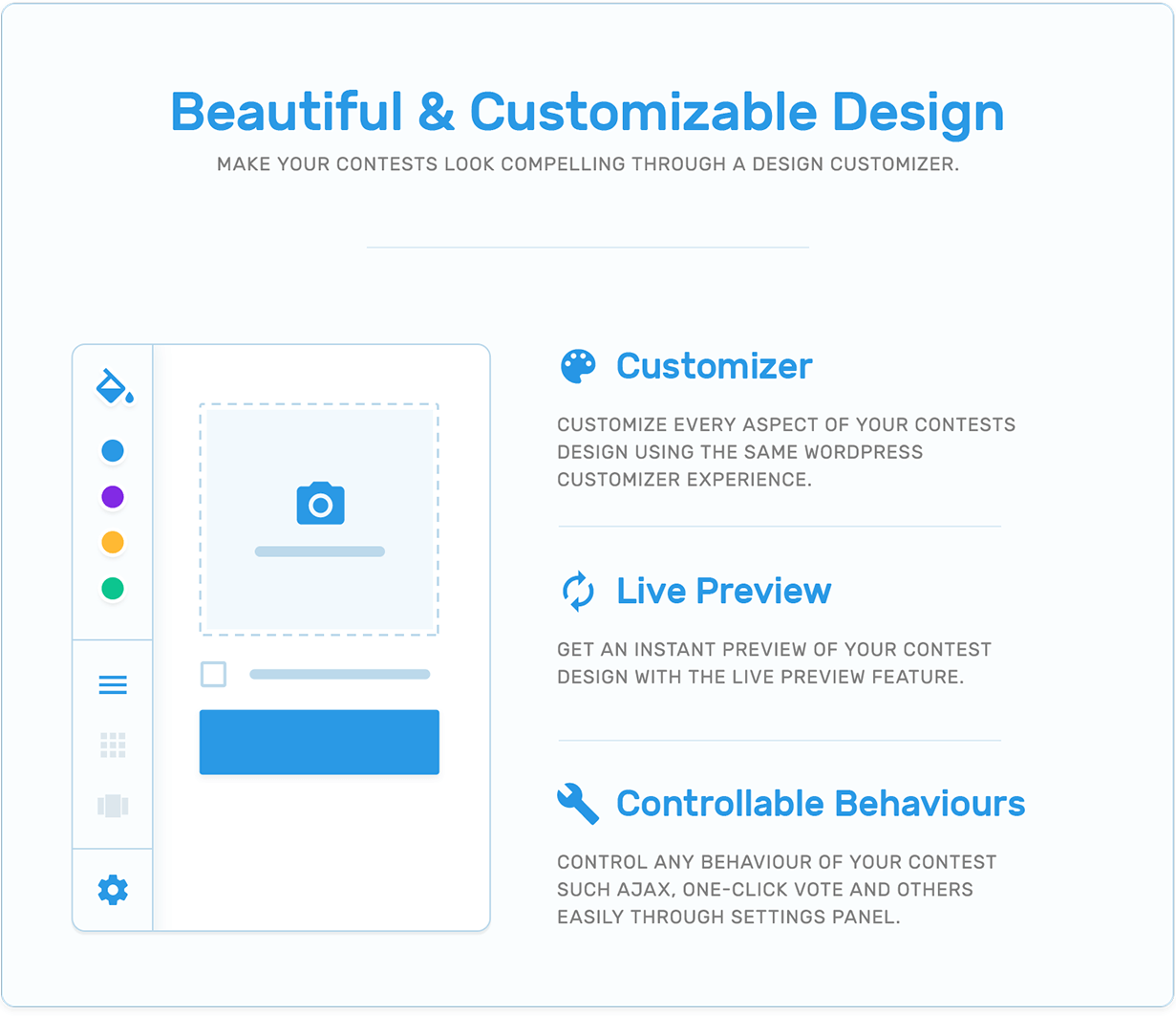 Beauty, customizer, live preview and controllable behaviours in TotalContest WordPress contest plugin.