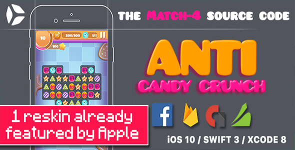 Photo of [Download] Anti Candy Crunch – the MATCH-4 Source Code – iOS 12 and Swift 4.2 ready
